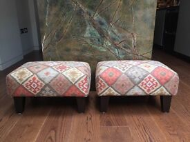 A beautiful pair of footstools in a Kilim fabric