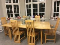 TABLE AND SIX CHAIRS - SOLD WOOD