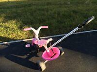 Girls first pink and white bike