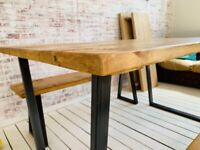 Dining Table Tapered Leg Industrial Bench Sets - Any RAL Colour Powder Coating!