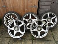"17"" alloy wheels 4 x 100 PCD for MG ZR/ZS, BMW 3 Series, most Mini, Nissan, Renault, Toyota models"