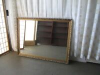 LARGE GILT FRAMED OVER MANTLE BEVELLED EDGE MIRROR WALL MIRROR FREE DELIVERY