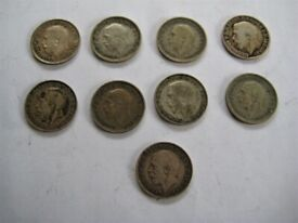 Nice Selection Of Nine George V Silver Three Pence Coins.