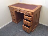 Partners desk, pine, traditionally hand made, leather topped