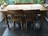 Solid pine table and 6 chairs in good condition. Made by Hedgehog Furniture Co, Catterick.