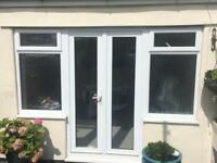 Double glazed French doors with side windows