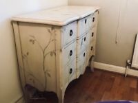 Hand painted wooden chest of drawers
