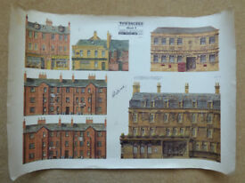 Townscene Backgrounds Sheet 4: Town Buildings, Vintage Signed, Superb Detail, Complete