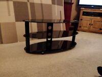 TV Stand, 3 tier, glass, Black