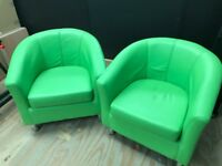 set of two lime green chairs