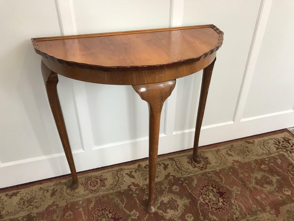 Vintage Half Moon Semi Circular Console Table Ideal For Shabby Chic Project