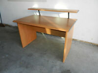 CHERRY WOOD EFFECT DESK AND REMOVABLE SHELF VGC