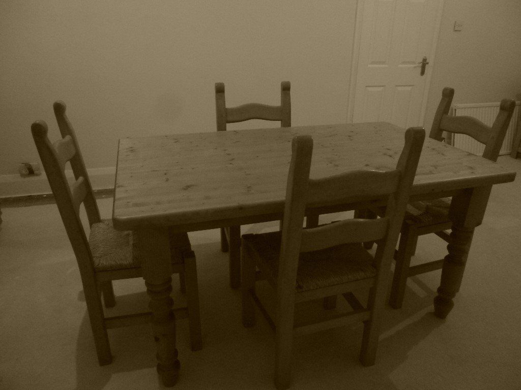 Heavy Duty Pine Table And 4 Chairs For Sale