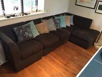 Large Brown Fabric Modular Corner Sofa with Cushions