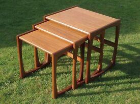 Vintage G-Plan nest of three occasional tables. Original 1960s teak 'Quadrille' range.