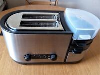 COOPERS 2 SLICE TOASTER & EGG COOKER STAINLESS STEEL & BLACK PLASTIC. Hardly Used In Good Condition