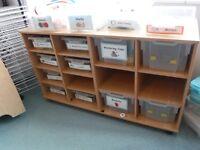 Children's Wooden Storage Unit with Plastic Trays
