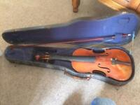 Violin, bow and case for repair