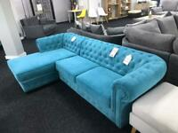 Corner Sofa Chesterfield Ocean Blue
