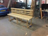 bespoke wooden bench made from pallet wood