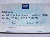 1 x World Snooker Championship Final Ticket - FINAL SESSION - UNRESTRICTED VIEW!