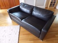 John Lewis Black Leather Sofa Bed very good condition