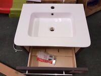 Bathstore Wall Hung Vanity Unit & Ceramic Basin Linen Grey - Ex Display
