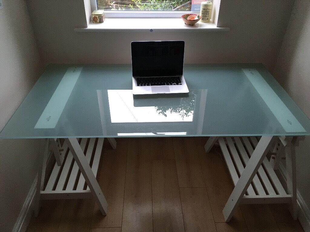 Table glass top white trestles with shelf ikea glasholm