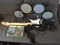 Rockband XBox 360 Kit - Guitar, Drums, Microphone and Games 1 and 3