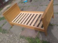 FREE mamas and papas hampton toddlers childs wooden bed,sized 400 mattress 140cm x 70cm, can deliver