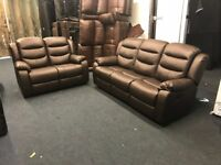 LITTLEWOODS VERY BROWN LEATHER RECLINER 3 AND 2 SEATER SOFA SET THREE PLUS TWO EX DISPLAY CHEAP