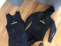 Probe two piece 7mm Mens scuba diving wetsuit size L