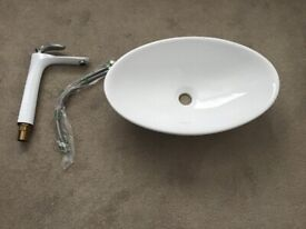 Oval counter top sink and white ceramic tap for sale