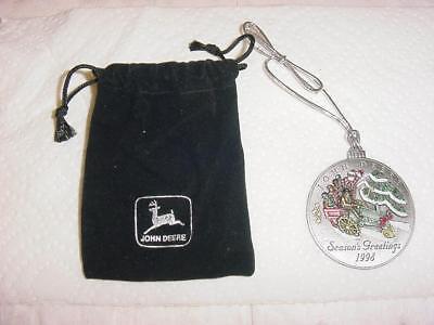 Mint Condition 1998 John Deere Christmas Ornament with Black Velvet Pouch