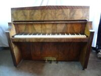 SEE VIDEO - Art Deco Burr Walnut Bentley Overstrung Piano - Including Local Delivery