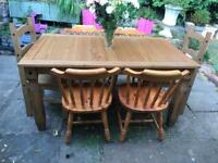Large Farmhouse dining table and 6 chairs