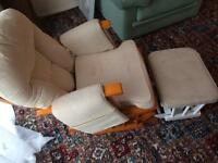 Nursing chair and foot stool