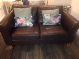 Gorgeous brown leather sofabed by Marks & Spencer; excellent condition.
