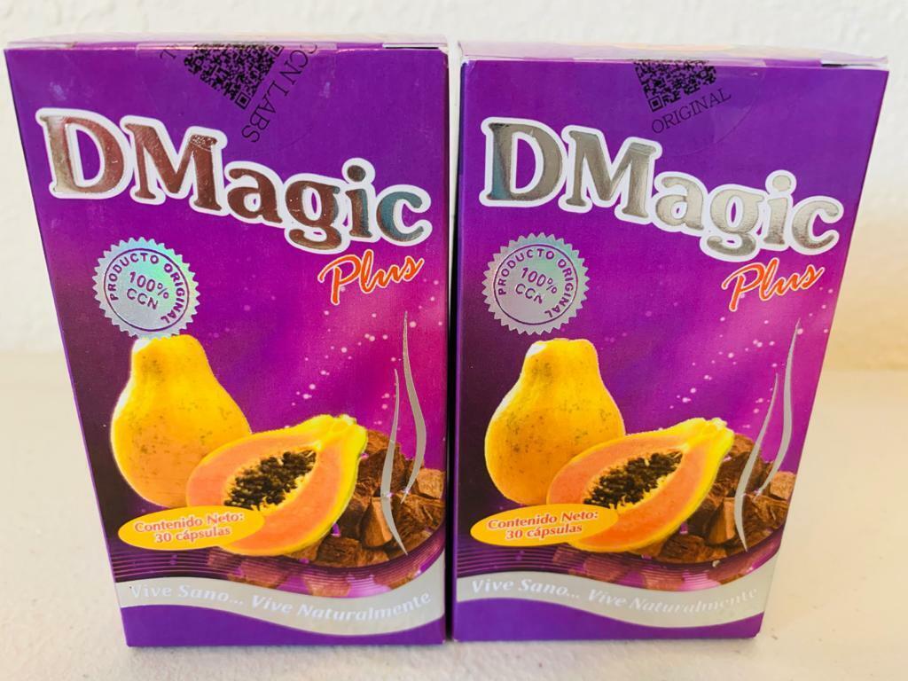 2 Pack DMagic Plus Cap 100% Original Cocolmeca-Te Verde-Papaya-Pina-Lino