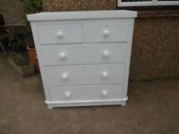 LARGE VICTORIAN CHEST OF DRAWERS--5 DRAWER --PAINTED FARROW + BALL WHITE PAINT --