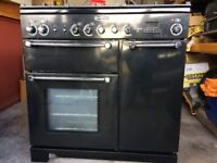 Rangemaster Kitchener 90 Dual Fuel Black/Chrome. Excellent Condition. Programmable fan oven