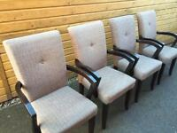 4 x Dining Chairs (Wood/Fabric)