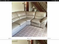 Leather Corner Suite with Matching Storage Footstool