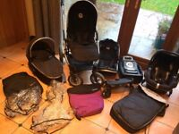 Oyster Max 2 Double Buggy + Pram, Maxi Cosi Pebble Car Seat & isofix base & buggy board