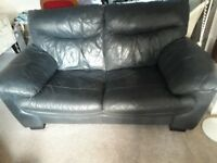 Sofa leather Charcoal Black 2 seater FREE