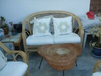 Furniture Set Wicker Settee and two chairs with fabric seating