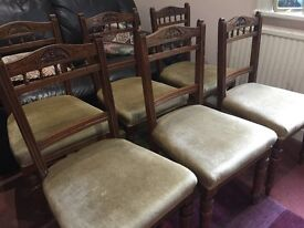 Set of 6 Edwardian Dining Chairs upholstered in top quality material and in perfect condition