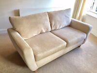3 x Seater Cream Fabric Sofa only £95 ONO Excellent Condition