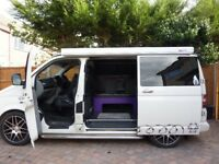 VW T5 custom camper van with pop top roof