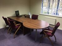 Office Furniture - Desk, 4 Chairs, Cabinet, Tall Standing Drawers